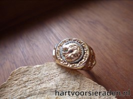 Ring Goldplated RVS Leeuwekop